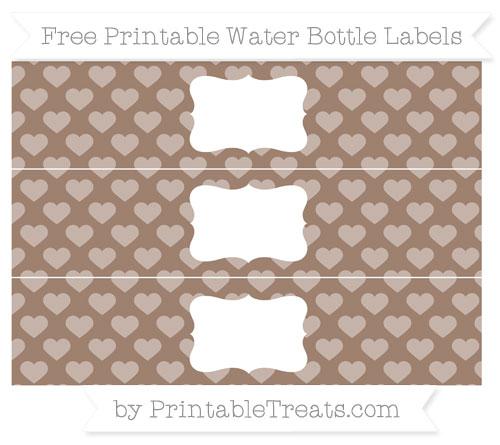 Free Beaver Brown Heart Pattern Water Bottle Labels
