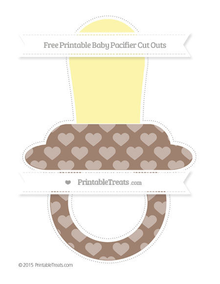 Free Beaver Brown Heart Pattern Extra Large Baby Pacifier Cut Outs
