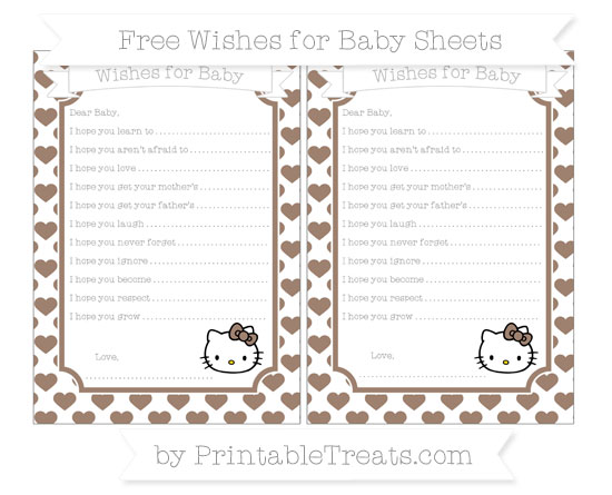 Free Beaver Brown Heart Pattern Hello Kitty Wishes for Baby Sheets