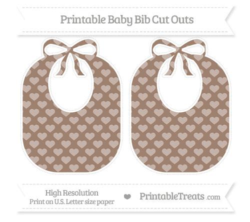 Free Beaver Brown Heart Pattern Large Baby Bib Cut Outs