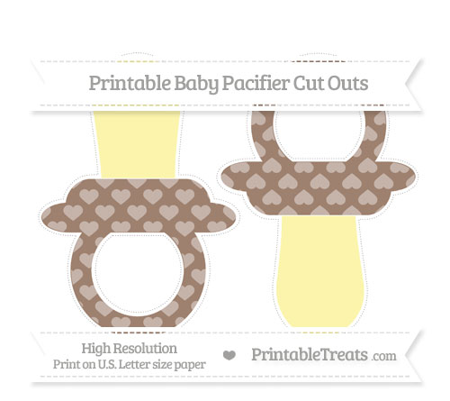 Free Beaver Brown Heart Pattern Large Baby Pacifier Cut Outs
