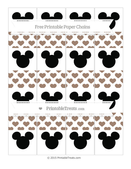 Free Beaver Brown Heart Pattern Mickey Mouse Paper Chains
