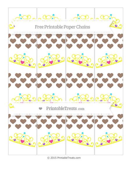 Free Beaver Brown Heart Pattern Princess Tiara Paper Chains