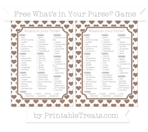 Free Beaver Brown Heart Pattern What's in Your Purse Baby Shower Game