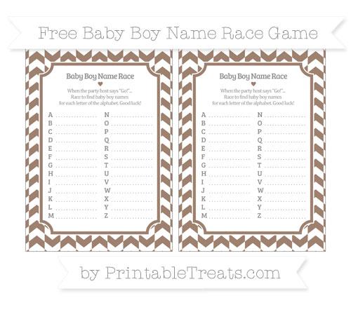 Free Beaver Brown Herringbone Pattern Baby Boy Name Race Game