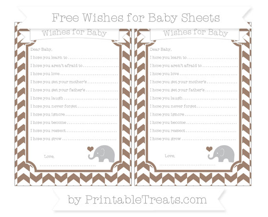 Free Beaver Brown Herringbone Pattern Baby Elephant Wishes for Baby Sheets