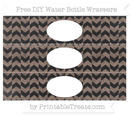 Free Beaver Brown Herringbone Pattern Chalk Style DIY Water Bottle Wrappers