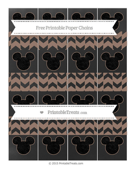 Free Beaver Brown Herringbone Pattern Chalk Style Mickey Mouse Paper Chains