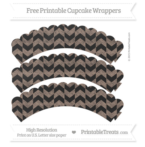 Free Beaver Brown Herringbone Pattern Chalk Style Scalloped Cupcake Wrappers