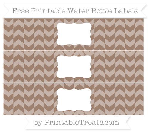 Free Beaver Brown Herringbone Pattern Water Bottle Labels