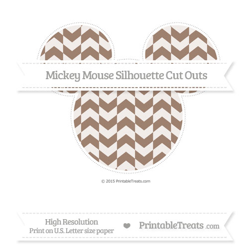 Free Beaver Brown Herringbone Pattern Extra Large Mickey Mouse Silhouette Cut Outs