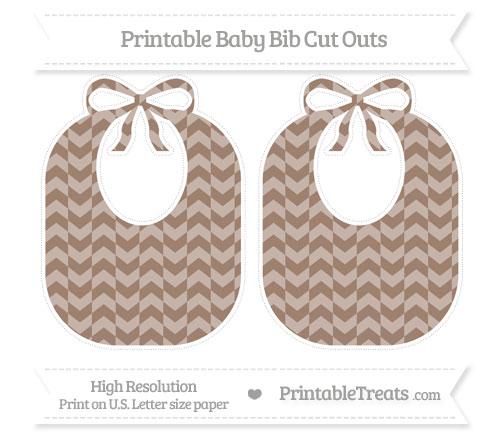 Free Beaver Brown Herringbone Pattern Large Baby Bib Cut Outs