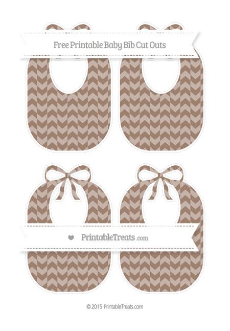 Free Beaver Brown Herringbone Pattern Medium Baby Bib Cut Outs