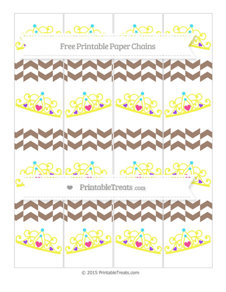 Free Beaver Brown Herringbone Pattern Princess Tiara Paper Chains