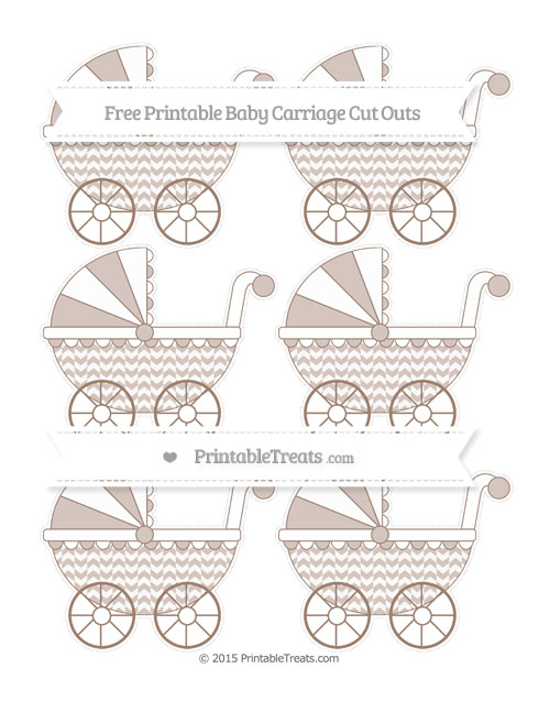 Free Beaver Brown Herringbone Pattern Small Baby Carriage Cut Outs