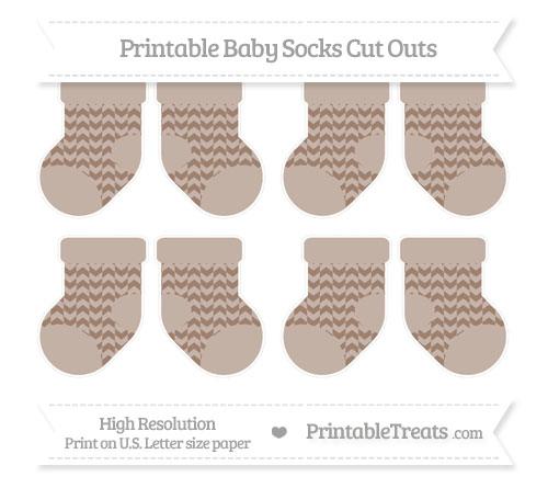 Free Beaver Brown Herringbone Pattern Small Baby Socks Cut Outs