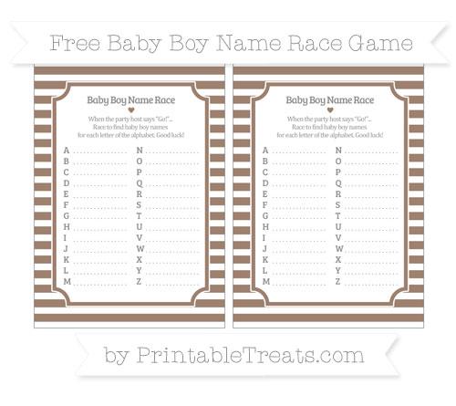Free Beaver Brown Horizontal Striped Baby Boy Name Race Game