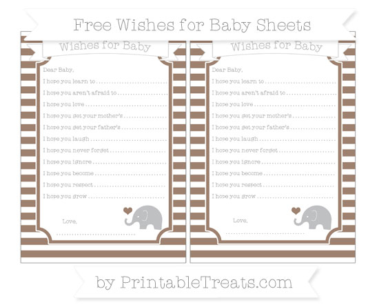 Free Beaver Brown Horizontal Striped Baby Elephant Wishes for Baby Sheets