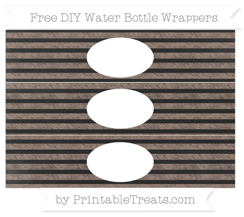 Free Beaver Brown Horizontal Striped Chalk Style DIY Water Bottle Wrappers