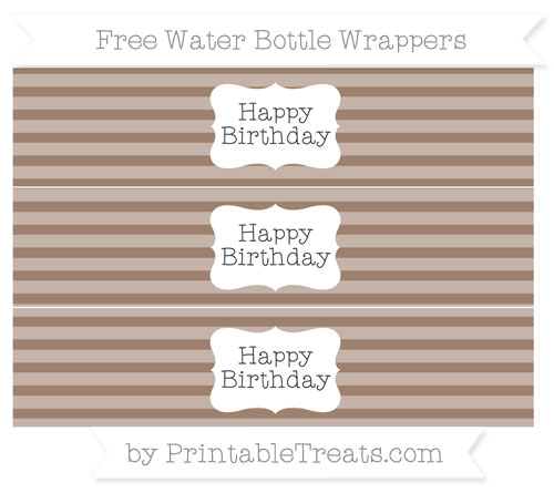 Free Beaver Brown Horizontal Striped Happy Birhtday Water Bottle Wrappers