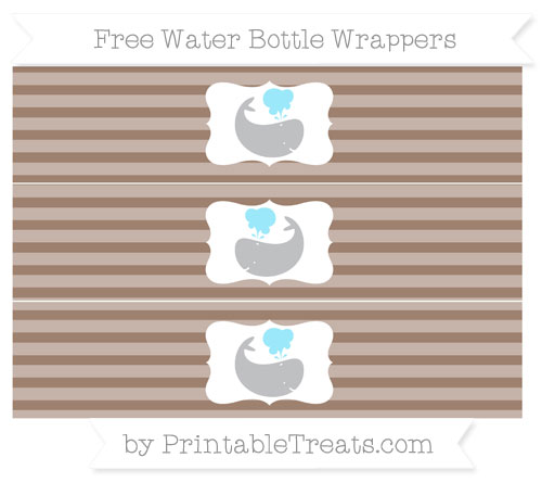 Free Beaver Brown Horizontal Striped Whale Water Bottle Wrappers