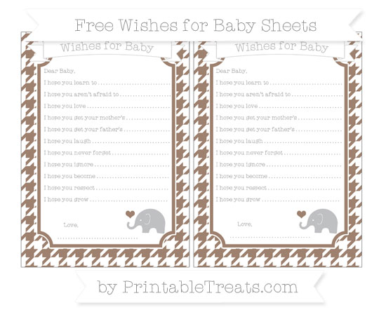 Free Beaver Brown Houndstooth Pattern Baby Elephant Wishes for Baby Sheets