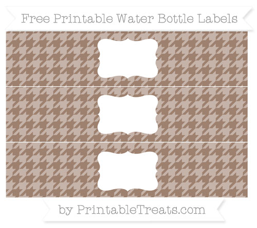 Free Beaver Brown Houndstooth Pattern Water Bottle Labels
