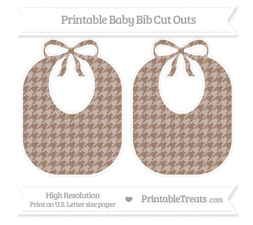 Free Beaver Brown Houndstooth Pattern Large Baby Bib Cut Outs
