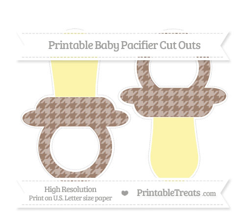 Free Beaver Brown Houndstooth Pattern Large Baby Pacifier Cut Outs