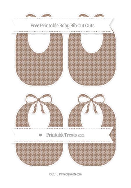 Free Beaver Brown Houndstooth Pattern Medium Baby Bib Cut Outs