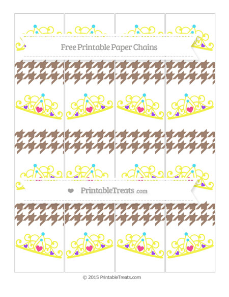 Free Beaver Brown Houndstooth Pattern Princess Tiara Paper Chains