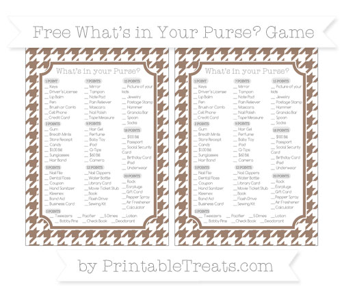 Free Beaver Brown Houndstooth Pattern What's in Your Purse Baby Shower Game