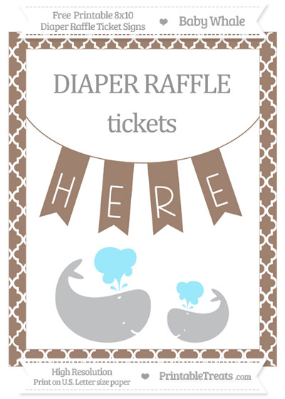Free Beaver Brown Moroccan Tile Baby Whale 8x10 Diaper Raffle Ticket Sign