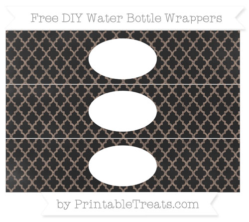 Free Beaver Brown Moroccan Tile Chalk Style DIY Water Bottle Wrappers