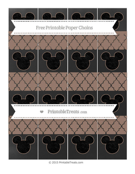Free Beaver Brown Moroccan Tile Chalk Style Mickey Mouse Paper Chains