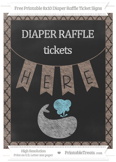 Free Beaver Brown Moroccan Tile Chalk Style Whale 8x10 Diaper Raffle Ticket Sign