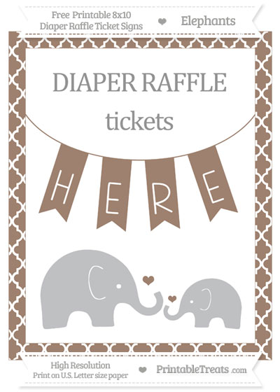 Free Beaver Brown Moroccan Tile Elephant 8x10 Diaper Raffle Ticket Sign