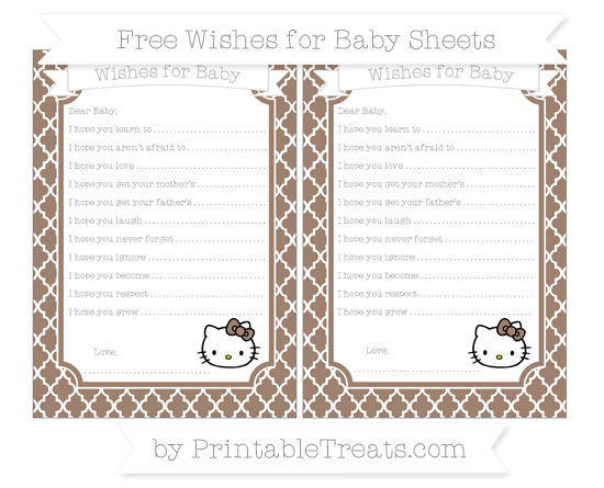 Free Beaver Brown Moroccan Tile Hello Kitty Wishes for Baby Sheets