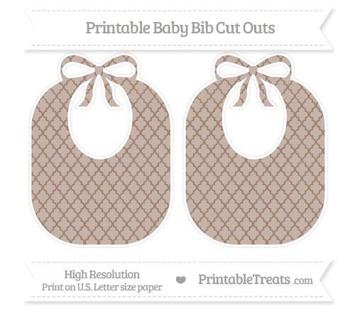 Free Beaver Brown Moroccan Tile Large Baby Bib Cut Outs