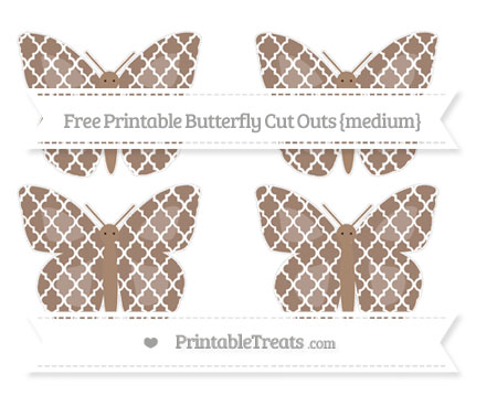 Free Beaver Brown Moroccan Tile Medium Butterfly Cut Outs