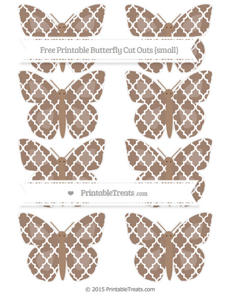 Free Beaver Brown Moroccan Tile Small Butterfly Cut Outs