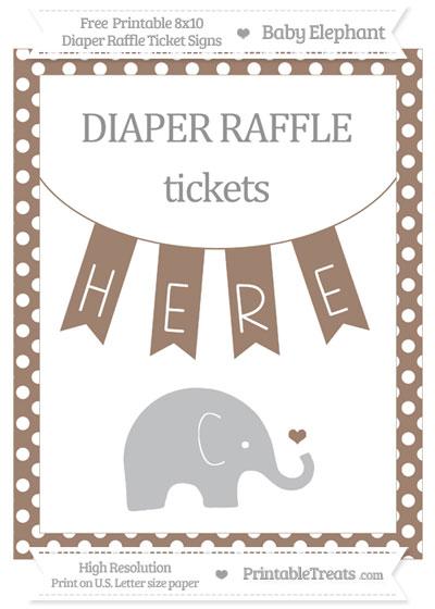 Free Beaver Brown Polka Dot Baby Elephant 8x10 Diaper Raffle Ticket Sign