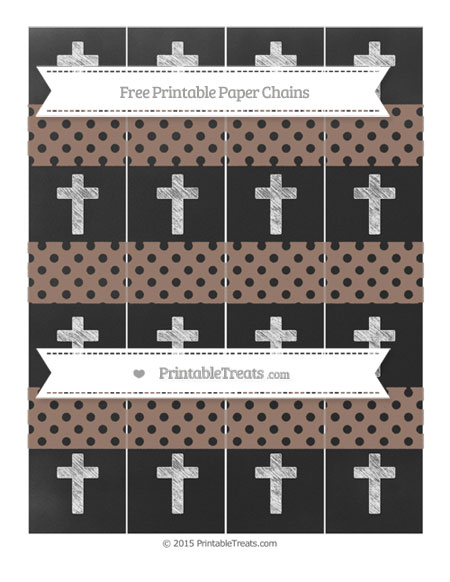 Free Beaver Brown Polka Dot Chalk Style Cross Paper Chains