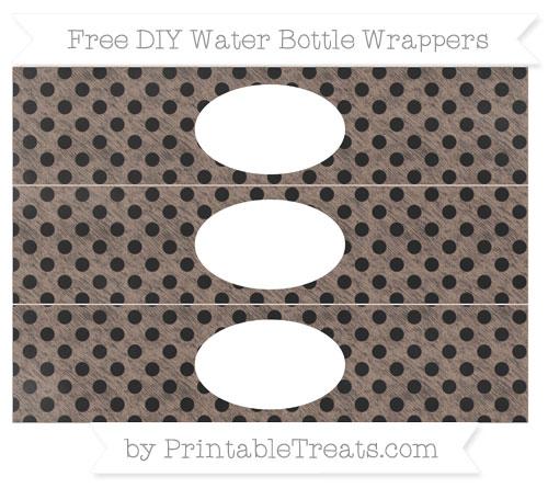 Free Beaver Brown Polka Dot Chalk Style DIY Water Bottle Wrappers