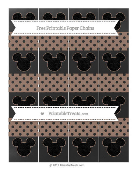 Free Beaver Brown Polka Dot Chalk Style Mickey Mouse Paper Chains
