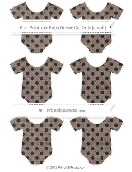 Free Beaver Brown Polka Dot Chalk Style Small Baby Onesie Cut Outs
