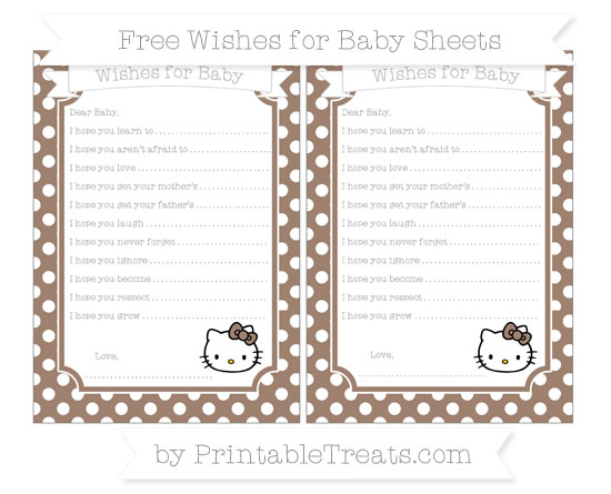 Free Beaver Brown Polka Dot Hello Kitty Wishes for Baby Sheets