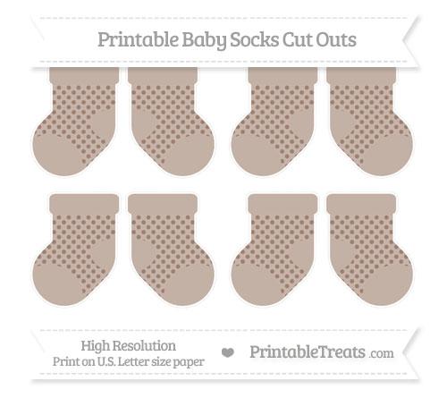 Free Beaver Brown Polka Dot Small Baby Socks Cut Outs