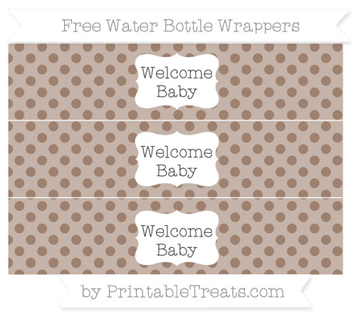 Free Beaver Brown Polka Dot Welcome Baby Water Bottle Wrappers