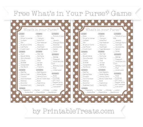 Free Beaver Brown Polka Dot What's in Your Purse Baby Shower Game